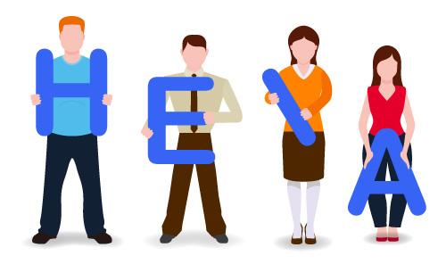HEIA System zur Veranschaulichung der verschiedenen Körpertypen H,E,I und A bei Frauen und Männern.