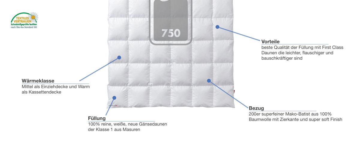 Kauffmann First Class Premium 750 Daunendecke Besonderheiten