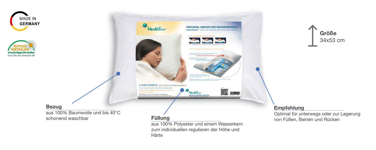 Mediflow 1041 Reise-Wasserkissen Besonderheiten