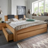 m&h System C, stabverleimt Massivholzbett mit Bettkasten
