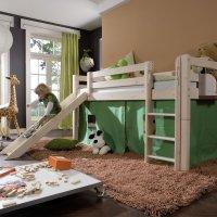 INFANSKIDS Halbhohes Abenteuerbett mit gerader Leiter und...